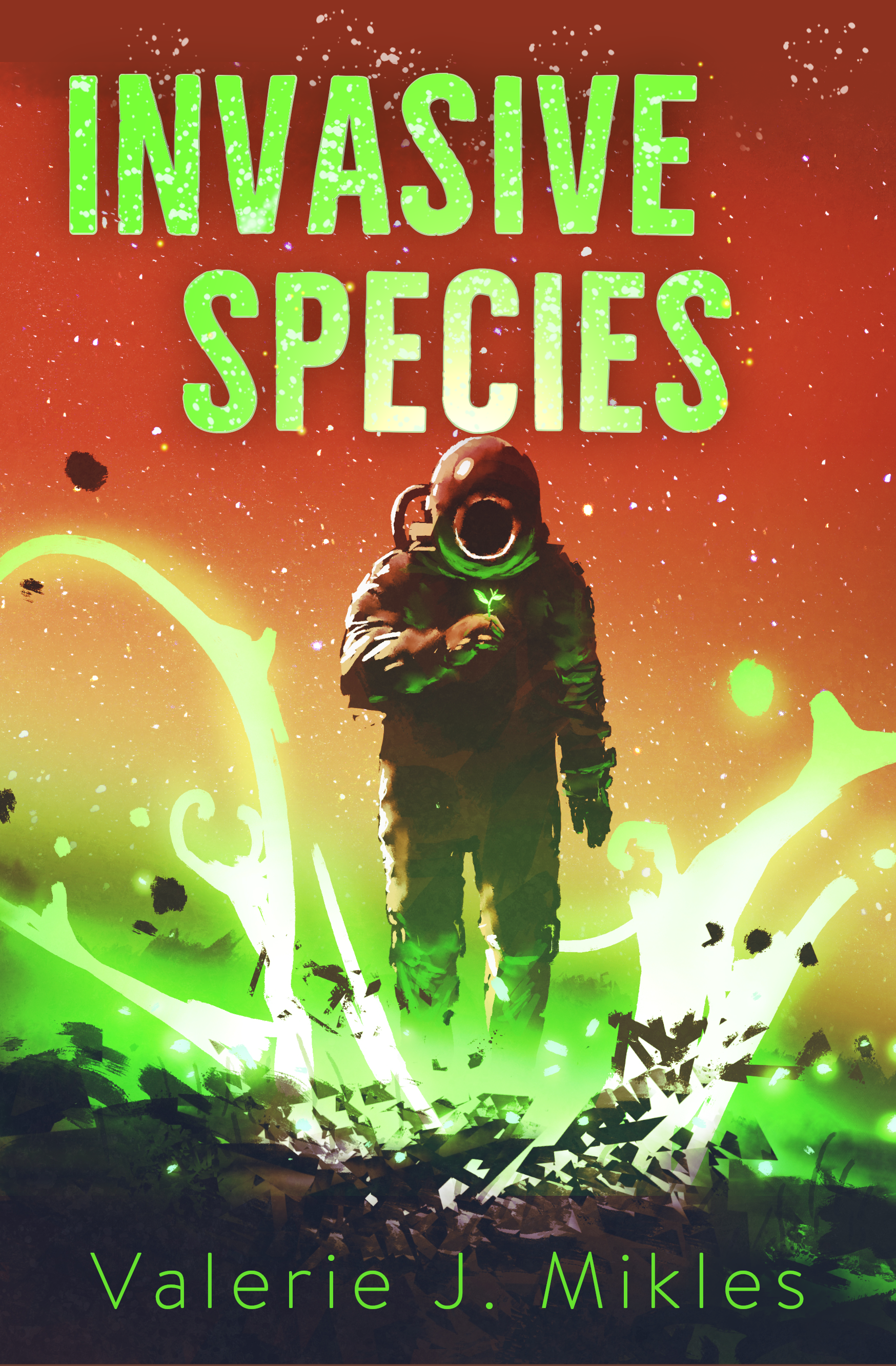 Cover of Invasive Species, showing something strange growing in a petri dish.